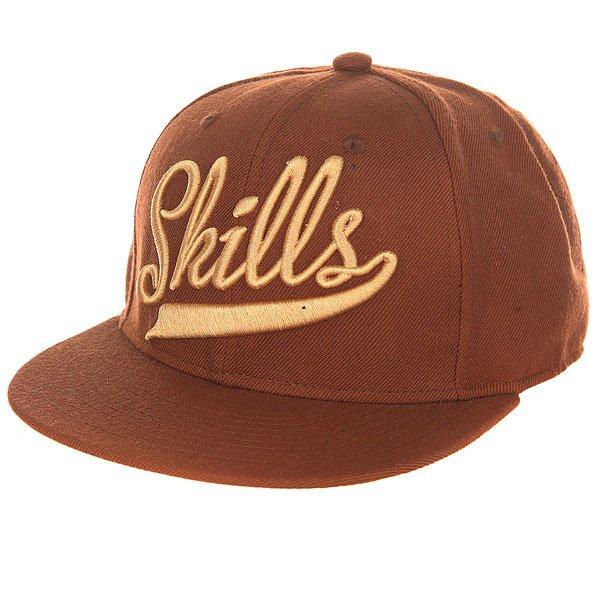 Бейсболка с прямым козырьком Skills 01 Brown