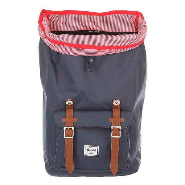 Рюкзак туристический Herschel Little America Navy/Tan Synthetic Leather