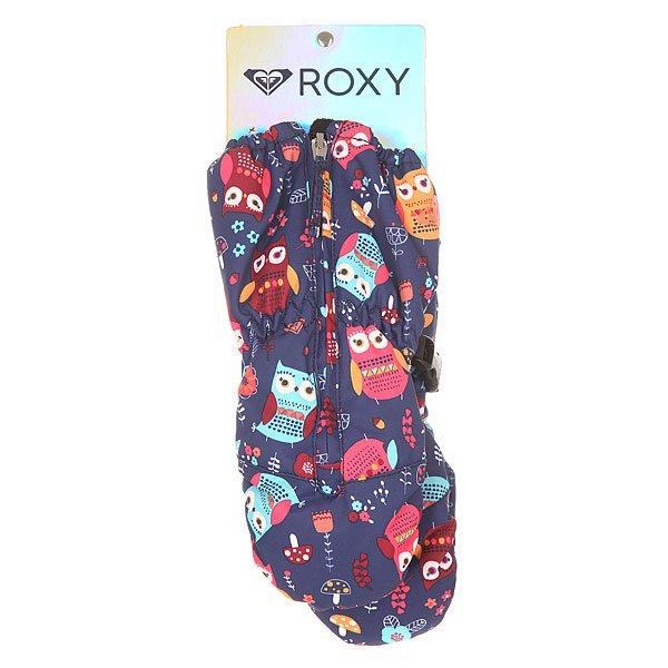 Варежки сноубордические детские Roxy Snows Up Mitt Little Owl Blue Prin