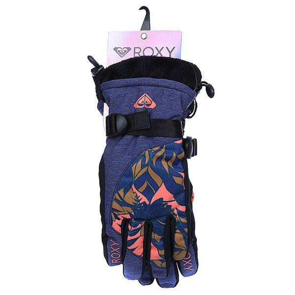 Перчатки сноубордические женские Roxy Merry Go Gloves Amazone Flowers Blue