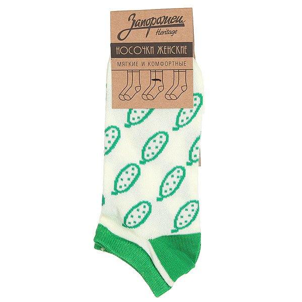 Носки низкие женские Запорожец Огурцы Белый/Зеленый
