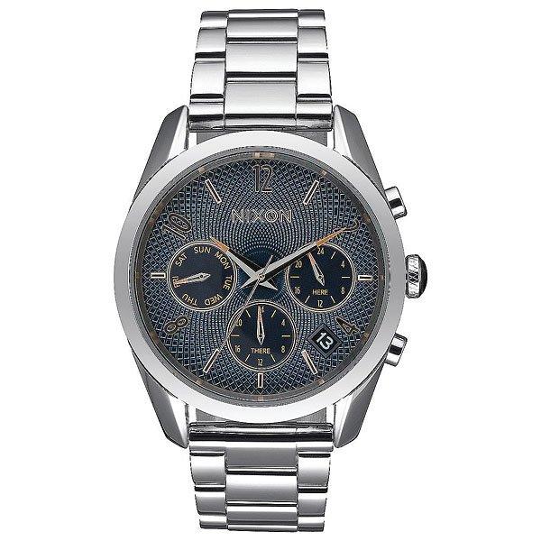 Кварцевые часы женские Nixon Bullet Chrono 36 Navy Rose Gold