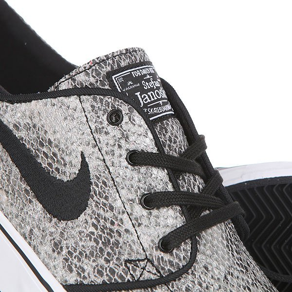 Кеды низкие Nike Zoom Stefan Janoski Prem Txt Black White Green Glow