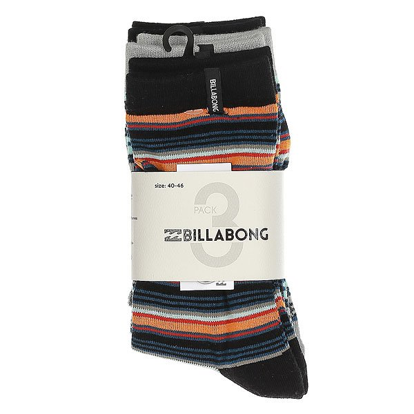 Носки средние Billabong Stripe Sock 3 Pack Assorted