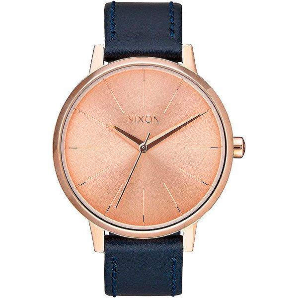 Кварцевые часы женские Nixon Kensington Leather Rose Gold/Navy