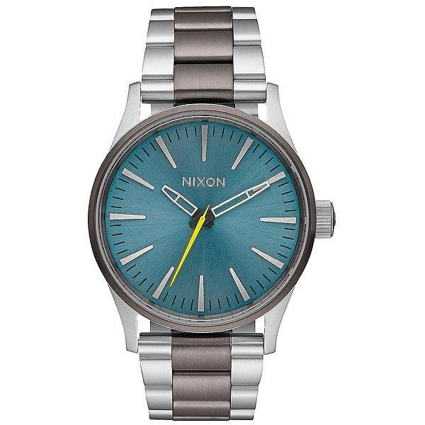 Кварцевые часы Nixon Sentry 38 Ss Qunmetal/Aqua