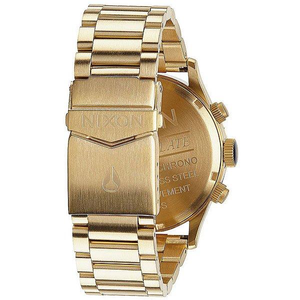 Кварцевые часы Nixon Sentry Chrono Leather Gold/Blue