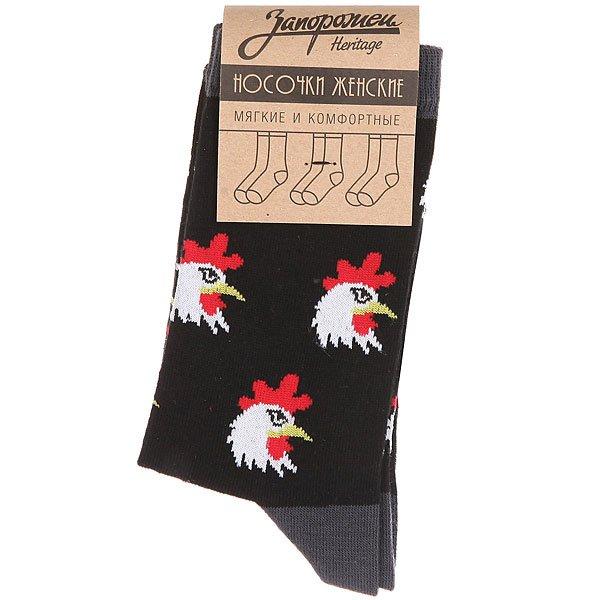 Носки средние женские Запорожец Петухи Головы Черный