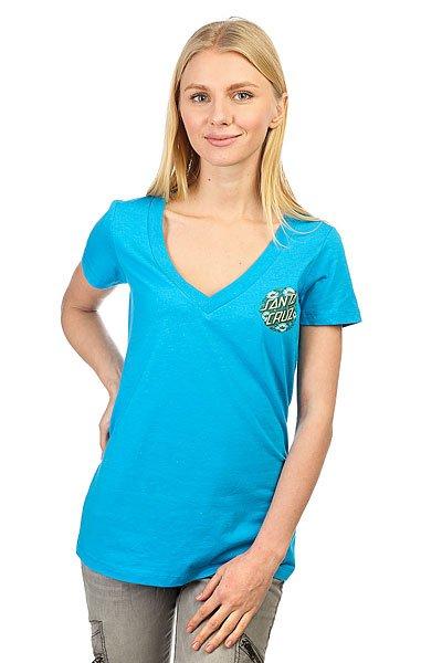 Футболка женская Santa Cruz Poppy Dot V-neck Tee Turquoise
