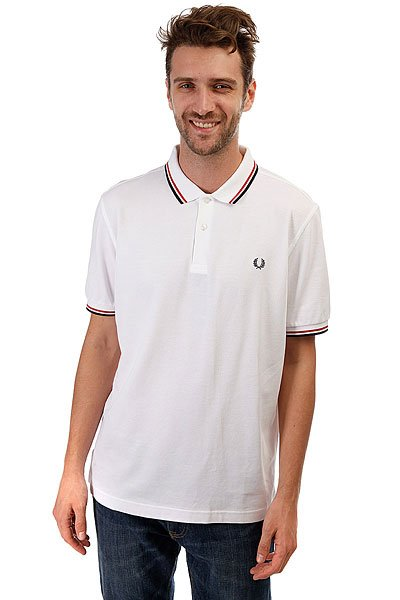 Поло Fred Perry Slim Fit Twin Tipped White