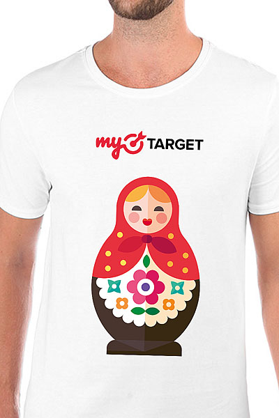 Футболка Wearcraft Premium Slim Fit MyTarget Logo Matreshka Белая