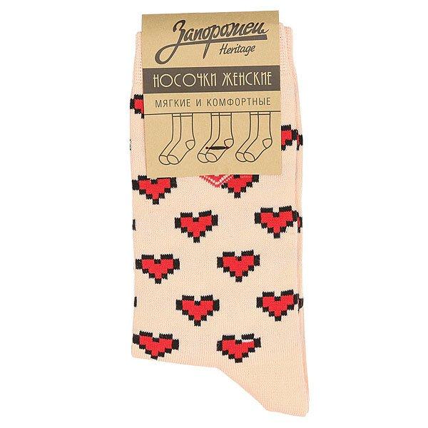 Носки средние женские Запорожец Сердечки Персиковый
