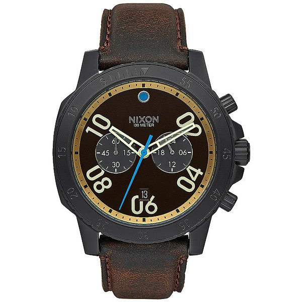 Кварцевые часы Nixon Ranger Leather Black/Goldenrod