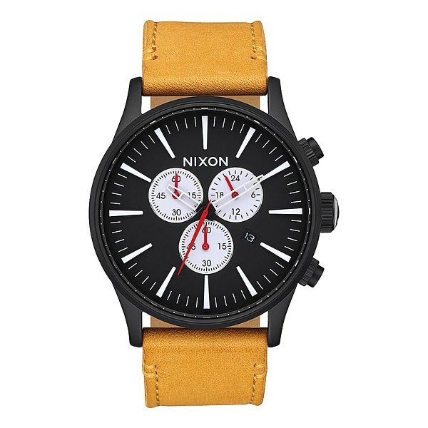 Кварцевые часы Nixon Sentry Chrono Leather Black/Goldenrod