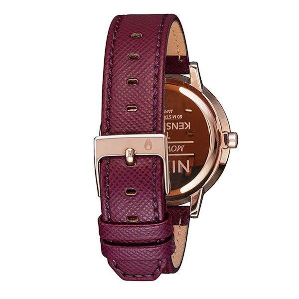 Кварцевые часы женские Nixon Kensington Leather Rose Gold/Bordeaux