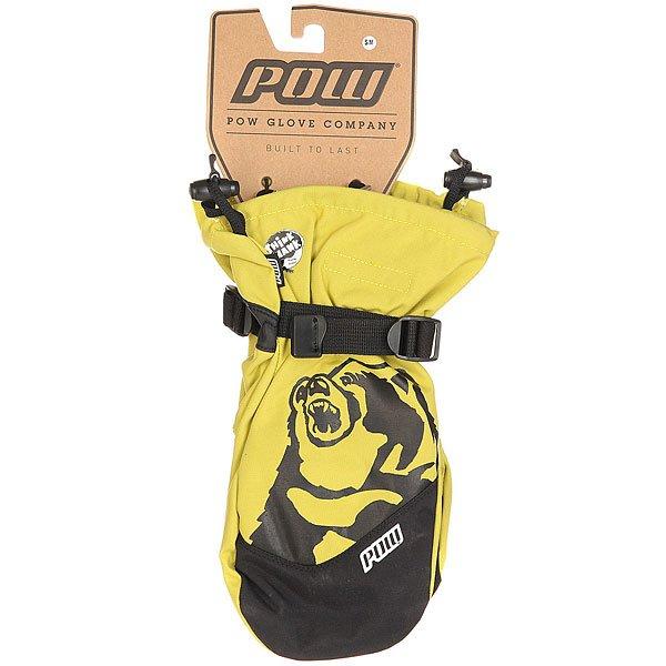 Варежки сноубордические Pow Bear Claw True Yellow