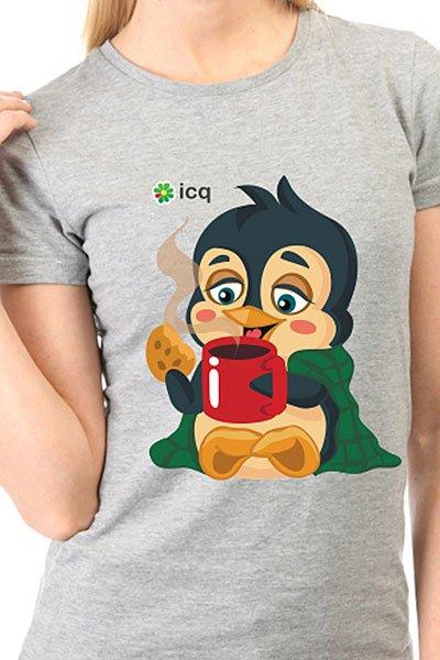 Футболка женская классическая ICQ Penguin Серая