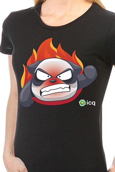 Футболка женская классическая ICQ Angrypanda Черная