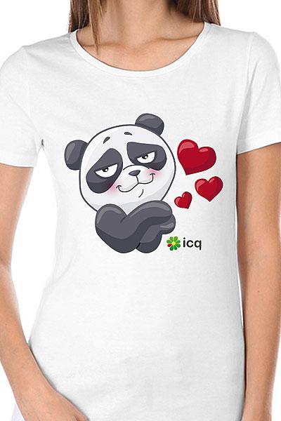 Футболка женская Wearcraft Premium ICQ Lovingpanda Белая