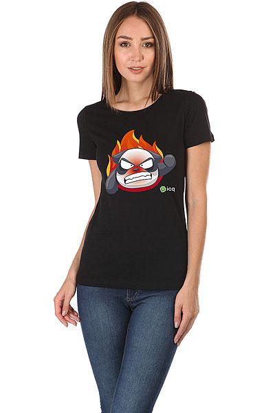 Футболка женская Wearcraft Premium ICQ Angrypanda Черная