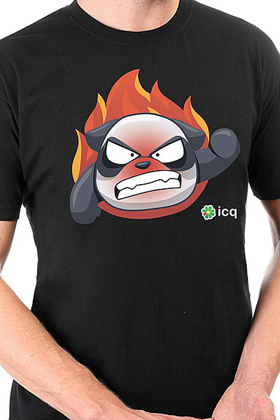Футболка классическая ICQ Angrypanda Черная