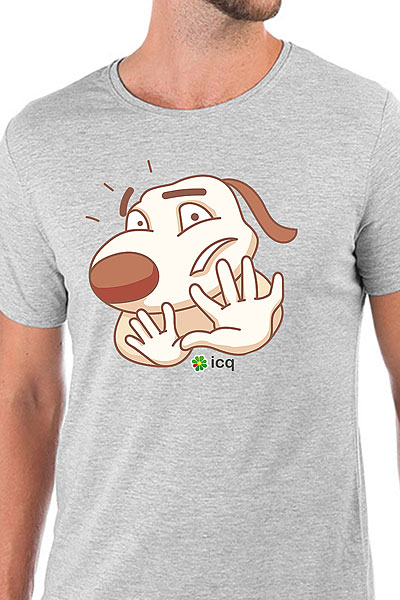 Футболка Wearcraft Premium Slim Fit ICQ Ohnodog Серая