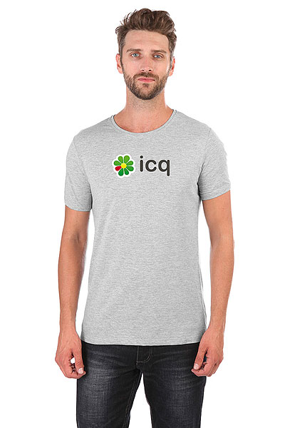 Футболка Wearcraft Premium Slim Fit ICQ Logo Серая