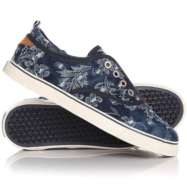 Кеды низкие женские Wrangler Icon Board Canvas Denim Flowers