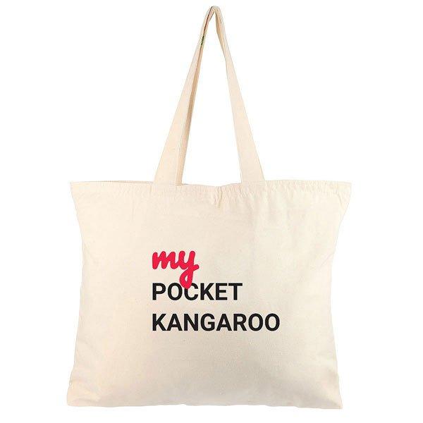 Холщовая сумка большая My.com Pocket Kangaroo Неокрашенная