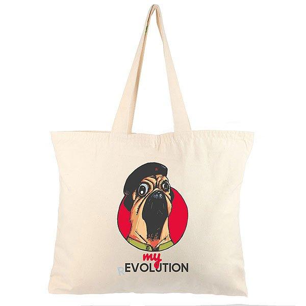 Холщовая сумка большая My.com My Revolution Mops Неокрашенная