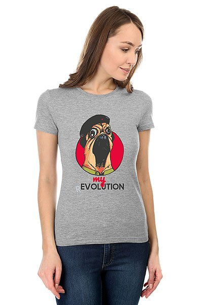 Футболка женская классическая My.com My Revolution Mops Серый Меланж