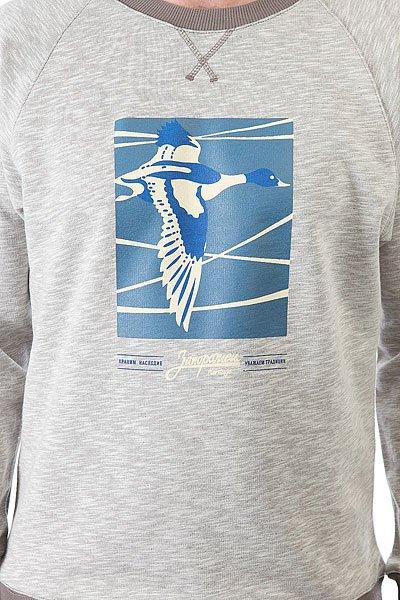 Толстовка свитшот Запорожец Перелёт Серо-бежевая