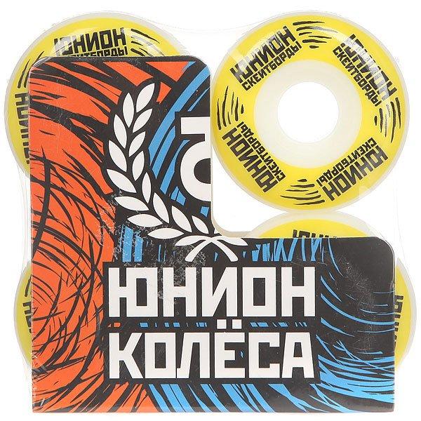 Колеса для скейтборда Юнион Logo Ф2 White/Yellow/Black 101A 49 mm