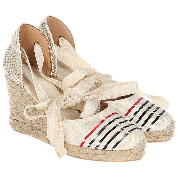 Сабо женское Soludos Striped Tall Wedge Red Navy Natural