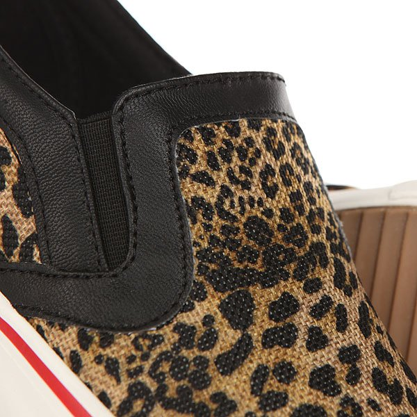 Слипоны женские British Knights Jam Brown Leopard/Black/Red