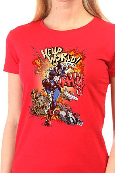 Футболка женская классическая My.com Hello World Красная