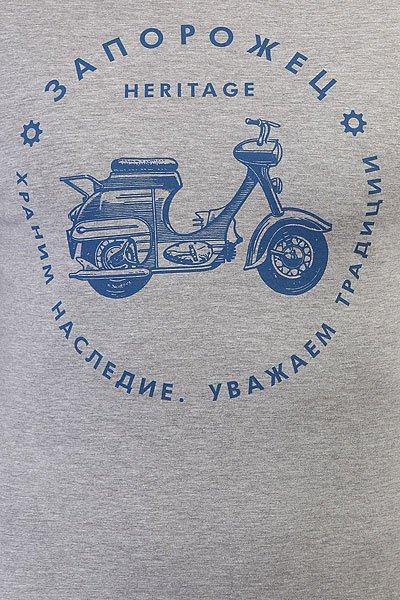 Лонгслив Запорожец Мотороллер Серый/Синий