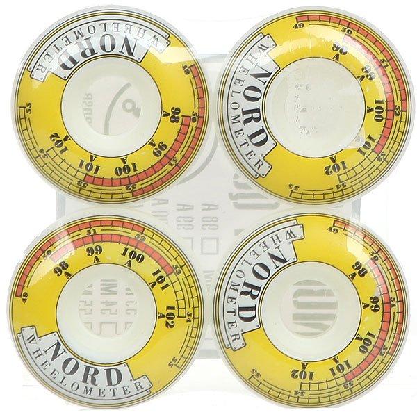 Колеса для скейтборда Nord Wheelometer White/Yellow 101A 52 mm