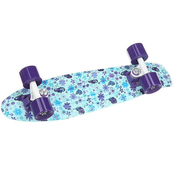 Скейт мини круизер Пластборды Flower 1 Light Blue/Purple/Blue 6 x 22.5 (57.2 см)