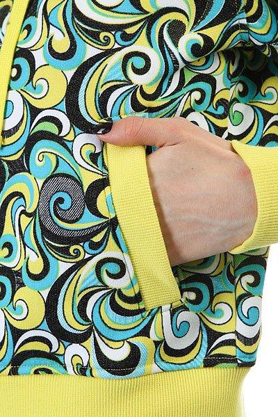 Толстовка кенгуру женская Dakine Girls Print Hoodie Yellow