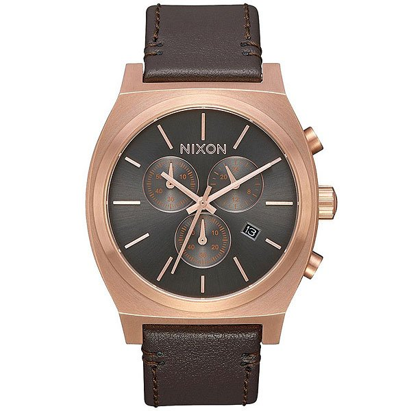 Кварцевые часы Nixon Time Teller Chrono Leather Gold/Gunmetal/Brown