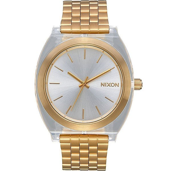 Кварцевые часы женские Nixon Time Teller Acetate Gold/Clear