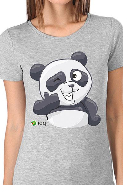 Футболка женская Wearcraft Premium ICQ Панда 3 Серая