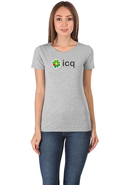 Футболка женская Wearcraft Premium ICQ Logo Серая