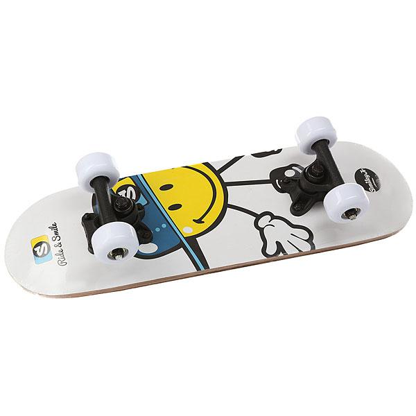 Скейтборд в сборе детский FUN4U Smiley Kiddy Cool White 20 X 6 (15.4 См)