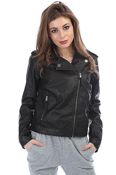 Куртка кожаная женская Roxy Midnight Ride Anthracite