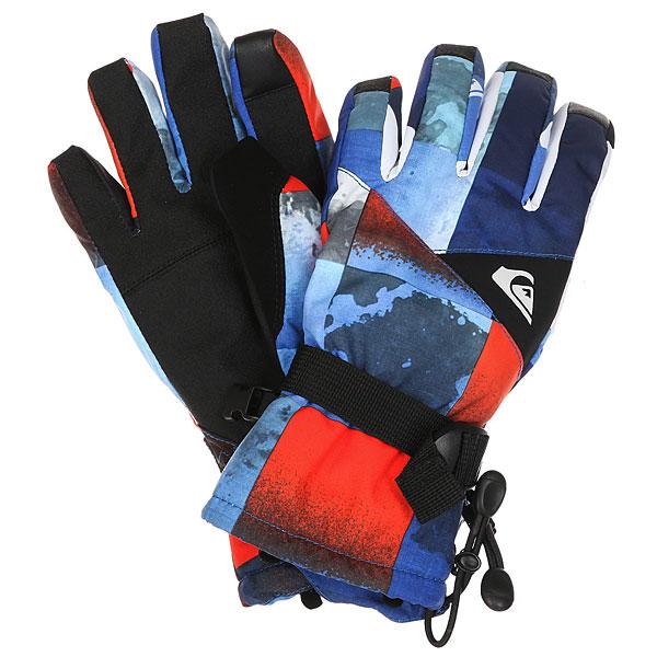 Купить Перчатки детские Quiksilver Mission You Blue Red Icey Check 1184369