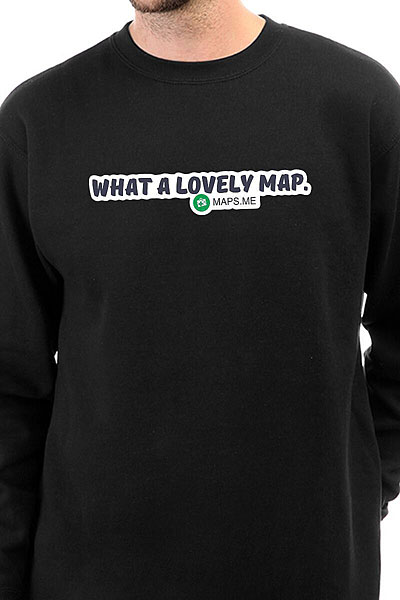 Свитшот Mapsme What A Lovey Map Черный