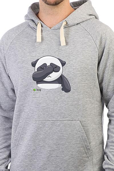 Толстовка Wearcraft Premium Icq Facepalmpanda Серый Меланж