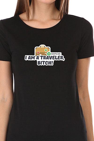 Футболка Женская Wearcraft Premium Mapsme I'm A Traveler Черная